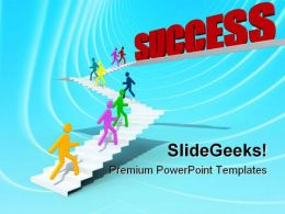 Stairs To Success Business PowerPoint Templates And PowerPoint Backgrounds 0811