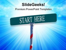 Start Here Signpost Metaphor PowerPoint Templates And PowerPoint Backgrounds 0811