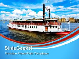 Steam Boat Beach PowerPoint Templates And PowerPoint Backgrounds 0611
