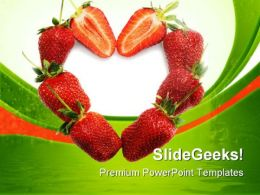 Strawberries Heart Food PowerPoint Templates And PowerPoint Backgrounds 0811