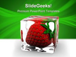 Strawberry In Ice Food PowerPoint Templates And PowerPoint Backgrounds 0511