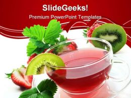 Strawberry Kiwi Tea For Health Food PowerPoint Templates And PowerPoint Backgrounds 0411