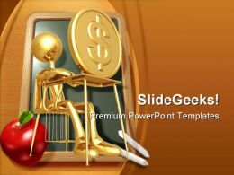 Student Studying Dollar PowerPoint Template 0810