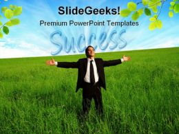 Success Businessman Business PowerPoint Background And Template 1210