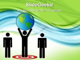 Targeted Person Carrying Globe Global PowerPoint Templates And PowerPoint Backgrounds 0811