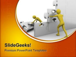Team Building Up A Jigsaw Construction PowerPoint Templates And PowerPoint Backgrounds 0811