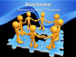 Team On Puzzle Teamwork People PowerPoint Background And Template 1210