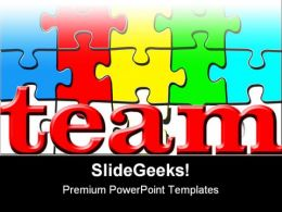 Team Puzzle Shapes PowerPoint Backgrounds And Templates 1210