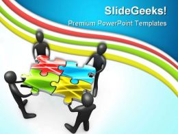 Teamwork And Puzzle Business PowerPoint Templates And PowerPoint Backgrounds 0811
