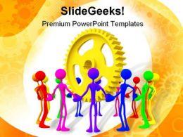Teamwork Unity Business PowerPoint Template 0810