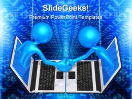 Technology Handshake Business PowerPoint Template 0810