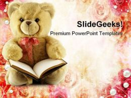 Teddy With Book Education PowerPoint Templates And PowerPoint Backgrounds 0711