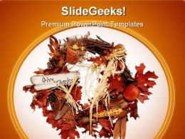 Thanksgiving Wreath Religion PowerPoint Template 1110