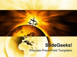 The Three Crosses Religion PowerPoint Template 0610