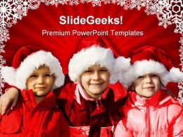 Three Children Christmas PowerPoint Templates And PowerPoint Backgrounds 0811