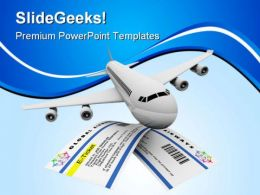 Tickets And Airplane Travel PowerPoint Templates And PowerPoint Backgrounds 0611