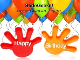 Toy Hands Wishing With Balloons Entertainment PowerPoint Templates And PowerPoint Backgrounds 0511