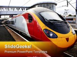 Train Standing At Platform Travel PowerPoint Templates And PowerPoint Backgrounds 0811