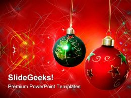 Two Christmas Balls Festival PowerPoint Templates And PowerPoint Backgrounds 0511