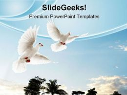 Two Doves Flying Animals PowerPoint Templates And PowerPoint Backgrounds 0711