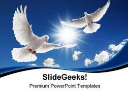 Two Flying Doves Animals PowerPoint Templates And PowerPoint Backgrounds 0811