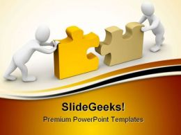 Two Men Completing Puzzle Business PowerPoint Templates And PowerPoint Backgrounds 0411