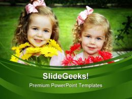 Two Sisters With Flowers Children PowerPoint Templates And PowerPoint Backgrounds 0311