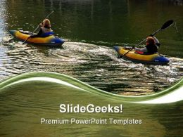 Two Women Kayakers Lifestyle PowerPoint Templates And PowerPoint Backgrounds 0611