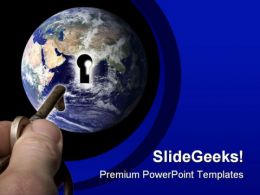 Unlock The World Globe PowerPoint Template 1110