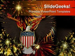 Us Emblem Over Fireworks Americana PowerPoint Templates And PowerPoint Backgrounds 0811