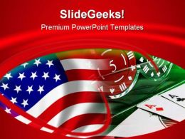 Usa Flag And Gambling Game PowerPoint Templates And PowerPoint Backgrounds 0811