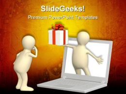 Virtual Online Gift Computer PowerPoint Templates And PowerPoint Backgrounds 0811