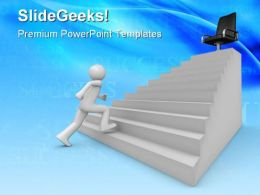 Walking On Career Ladder Business PowerPoint Templates And PowerPoint Backgrounds 0711