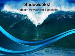 Waves On Beach Nature PowerPoint Template 1110