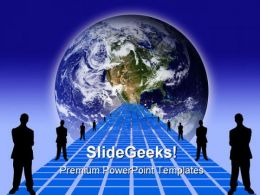 Way To Globe Business PowerPoint Backgrounds And Templates 0111