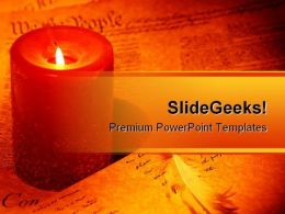 We The People Candle Americana PowerPoint Template 1110