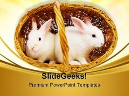 White Rabbits In Basket Easter Festival PowerPoint Templates And PowerPoint Backgrounds 0411
