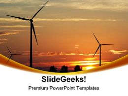 Wind Turbines Sunset PowerPoint Templates And PowerPoint Backgrounds 0211