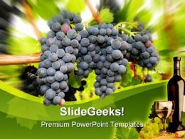 Wine Grapes Nature PowerPoint Template 0610