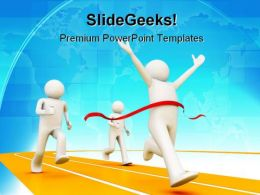 Winner On Finishing Line Business PowerPoint Template 1010