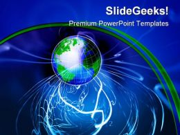 Wireless Technology Globe PowerPoint Background And Template 1210