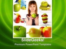 Woman And Apples Health PowerPoint Templates And PowerPoint Backgrounds 0811