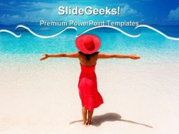 Woman Enjoys Beach PowerPoint Templates And PowerPoint Backgrounds 0811