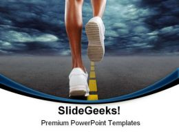 Woman Jogging Health PowerPoint Templates And PowerPoint Backgrounds 0811