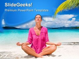 Woman Meditation Beach PowerPoint Backgrounds And Templates 1210