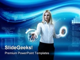 Woman Navigating Technology PowerPoint Templates And PowerPoint Backgrounds 0511