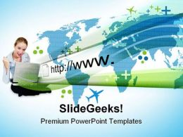 Woman On Laptop Internet PowerPoint Templates And PowerPoint Backgrounds 0811