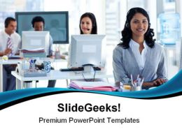 Woman With A Headset Business PowerPoint Templates And PowerPoint Backgrounds 0511