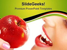 Woman With Apple Food Health PowerPoint Templates And PowerPoint Backgrounds 0911
