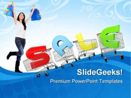 Woman With Shopping Cart Sales PowerPoint Templates And PowerPoint Backgrounds 0511